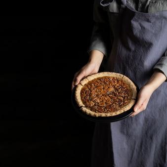 Close-up individuele bedrijf zelfgemaakte pecannoot taart