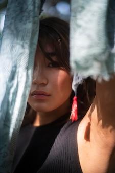 Close-up japanse vrouw modelleren