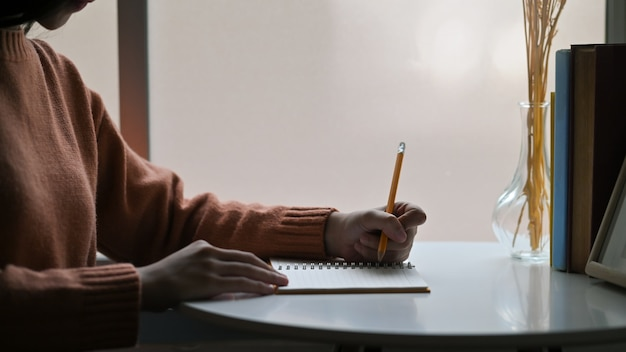 Close-up jonge creatieve vrouw die op notitieboekjedocument schrijven.