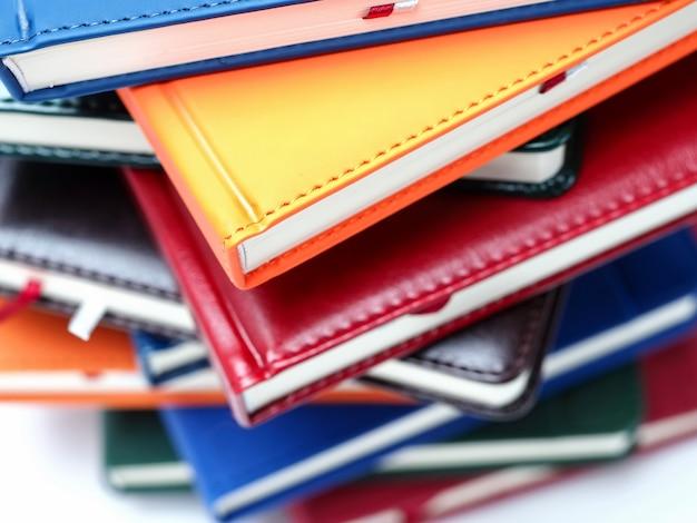 Close-up lederen boek bindende planner boek blok