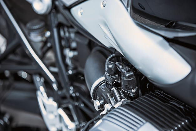 Close-up luxe motorfietsartikelen: motoronderdelen