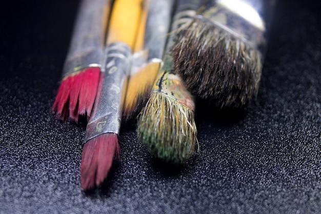 Close-up macro detail schilderij kunst borstel
