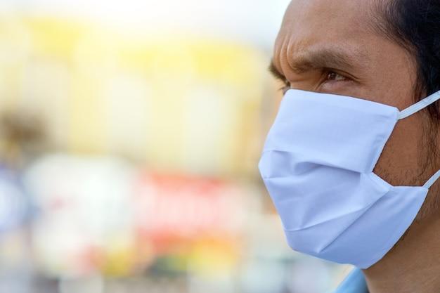 Close-up man met medische masker