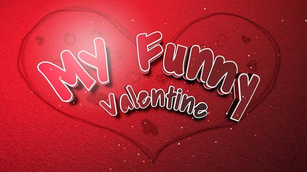 Close-up mijn grappige valentines-tekst en romantisch hart op liefde glanzende achtergrond. luxe en elegante stijl 3d illustratie voor vakantie