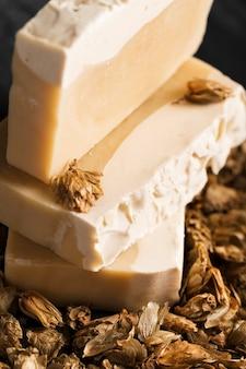 Close-up natuurlijke zelfgemaakte zeep