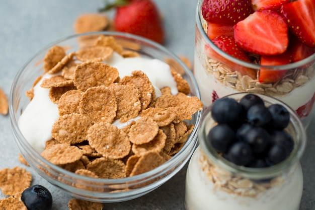 Close-up ontbijt met granen