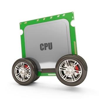 Close-up op central processing unit on wheels