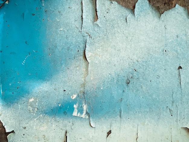 Close-up op de oude armoedige geschilderde blauwe achtergrond van de oppervlaktetextuur