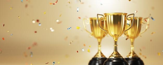 Close-up op gouden trofee-onderscheiding in 3d-rendering