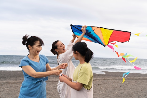 Close-up op japanse familie die plezier heeft