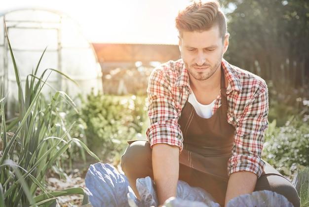 Close-up op man kijken naar zijn gewassen