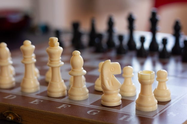 Close-up op witte ridder stuk schaakbord schaakspel strategie intelligentie concepten