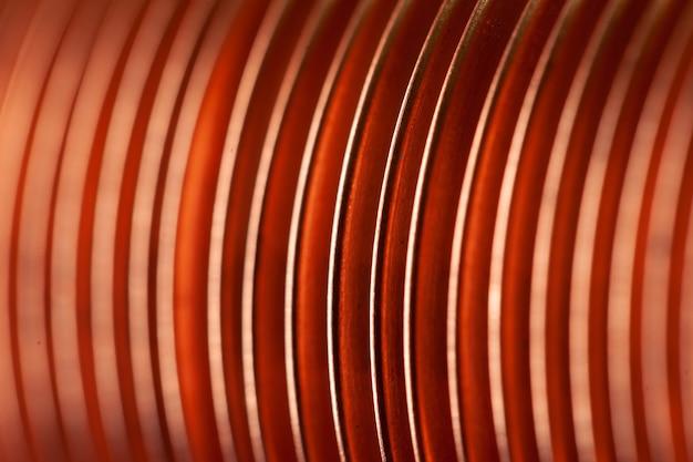 Close-up platte koperen gedraaide platen in de fabriek