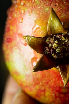 Close-up pomergranate fruit met waterdruppeltjes