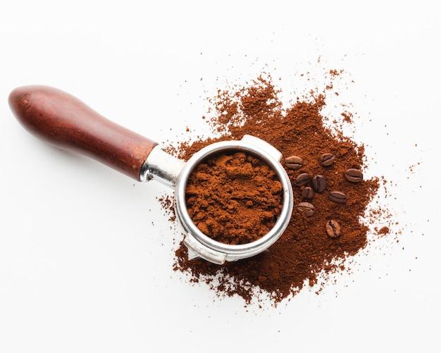 Close-up portafilter met koffie
