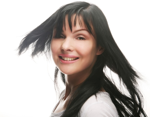 Close-up portret van sexy blanke jonge vrouw met mooie smile