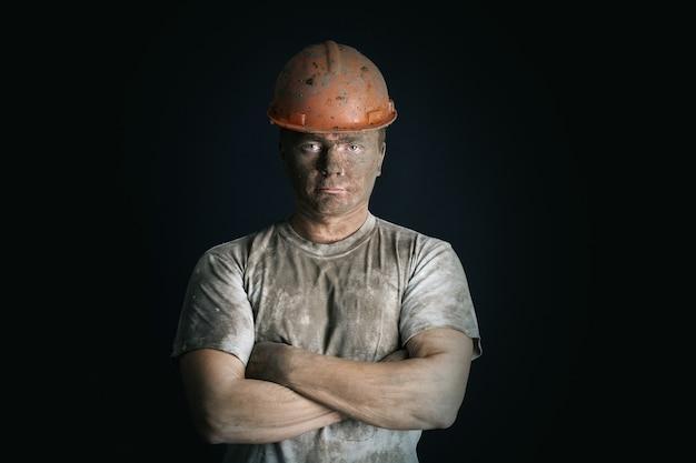 Close-up portretm werknemer man mijne