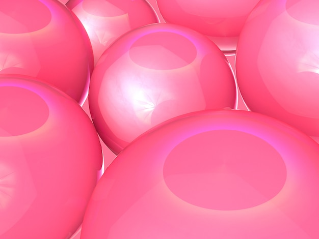 Close-up shot abstracte achtergrond roze glanzende 3d-rendering