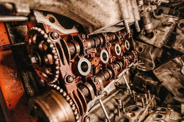 Close-up shot van de details van een oude industriële machine