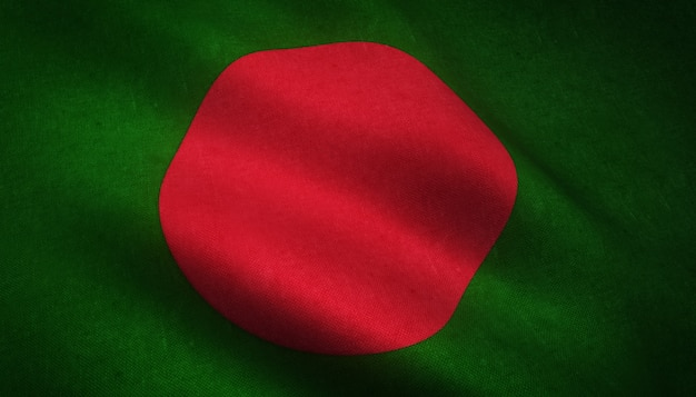 Close-up shot van de vlag van bangladesh met interessante texturen