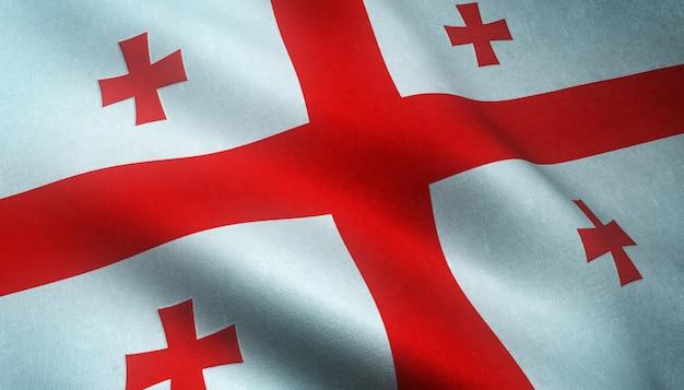 Close-up shot van de wapperende vlag van georgië met interessante texturen