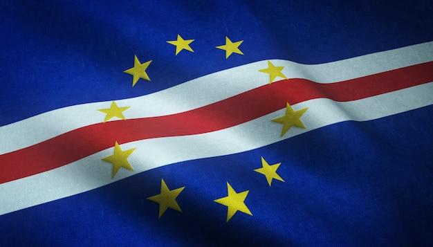 Close-up shot van de wapperende vlag van kaapverdië met interessante texturen