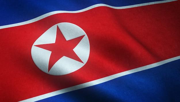 Close-up shot van de wapperende vlag van noord-korea met interessante texturen