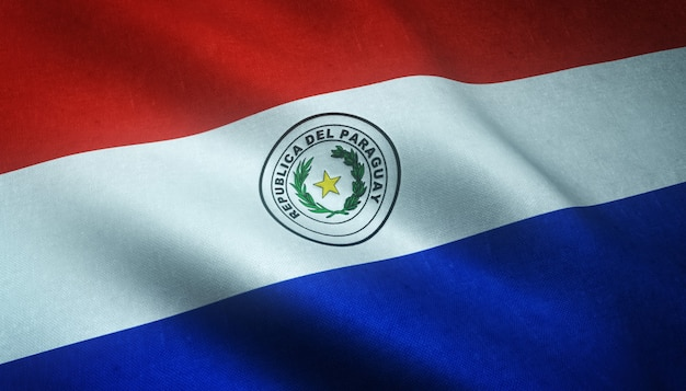 Close-up shot van de wapperende vlag van paraguay met interessante texturen