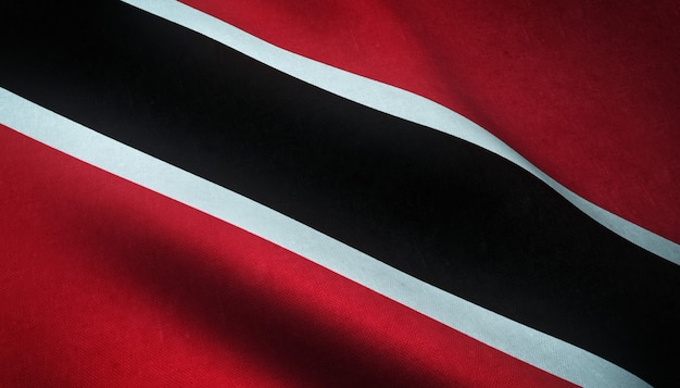 Close-up shot van de wapperende vlag van trinidad en tobago met interessante texturen
