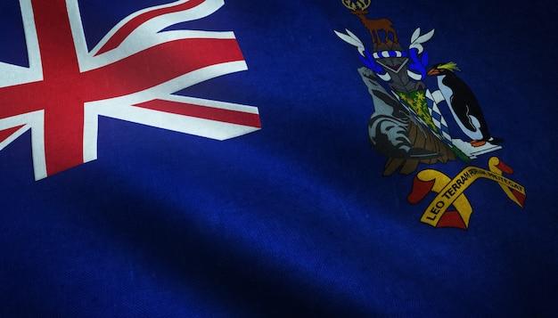 Close-up shot van de wapperende vlag van zuid-georgië en de zuidelijke sandwicheilanden