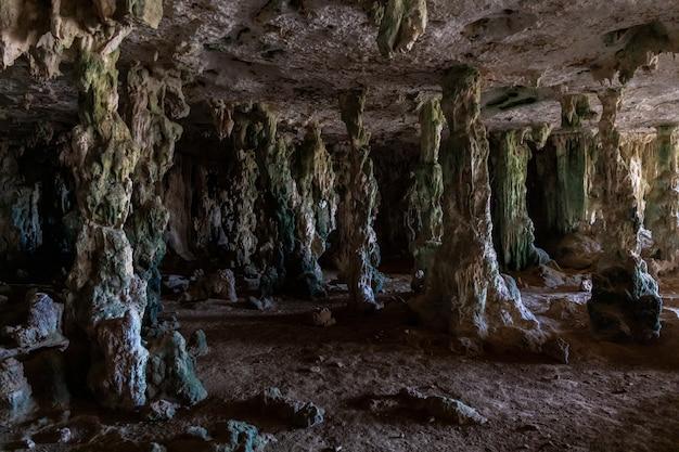 Close-up shot van een oude grot vol mysterie in bonaire, het caribisch gebied