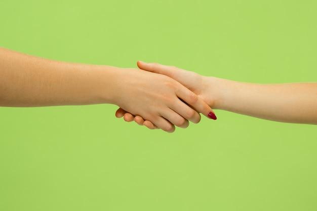 Close-up shot van menselijke hand in hand geïsoleerd op groene muur. twee vrouwtjespalm. concept van menselijke relaties, vriendschap, partnerschap, familie. copyspace.