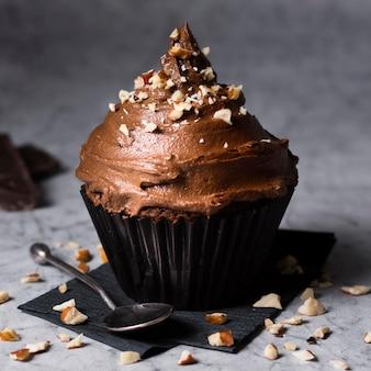 Close-up smakelijke chocolade cupcake