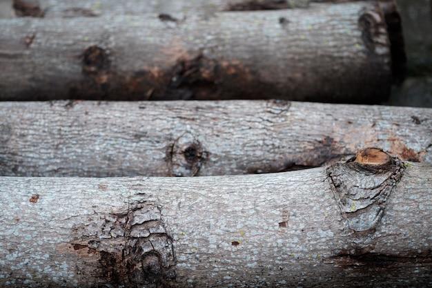 Close-up stapel houtblokken. hout logboeken textuur achtergrond.