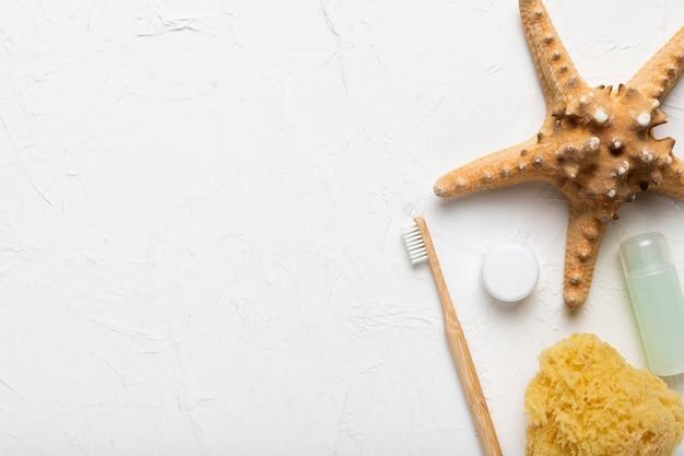 Close-up starfis en wrijfgereedschap