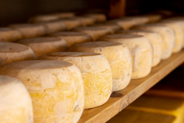 Close-up stukjes rijpe kaas