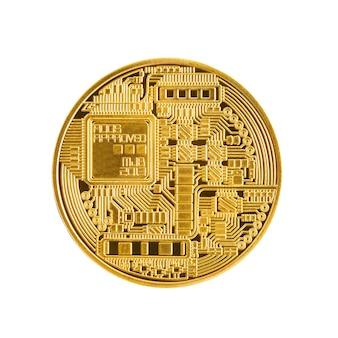 Close-up terug gouden bitcoin symbool geïsoleerd op een witte achtergrond