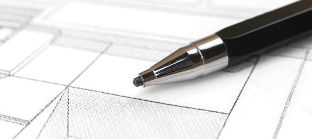 Close-up tot potlood, papier blauwdruk tekening ontwerp onroerend goed bouw bouw project concept foto