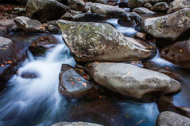 Close-up uitzicht op de rotsen in de trapsgewijze stroom van de rivier op een koude dag
