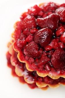Close-up van aardbeientaart