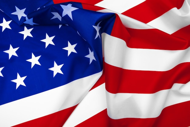 Close-up van amerikaanse vlag zwaaien
