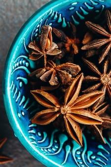 Close-up van anijs sterren. spice achtergrond.