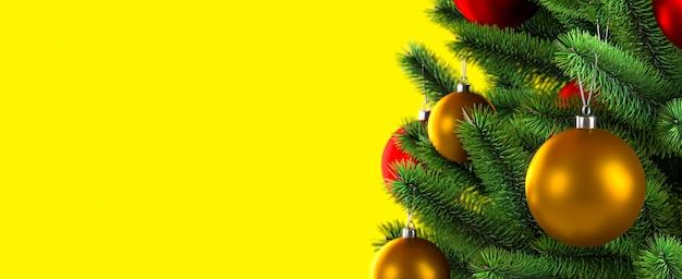 Close-up van ballen op kerstboom. gele achtergrond. nieuwjaar concept. 3d rendering illustratie.