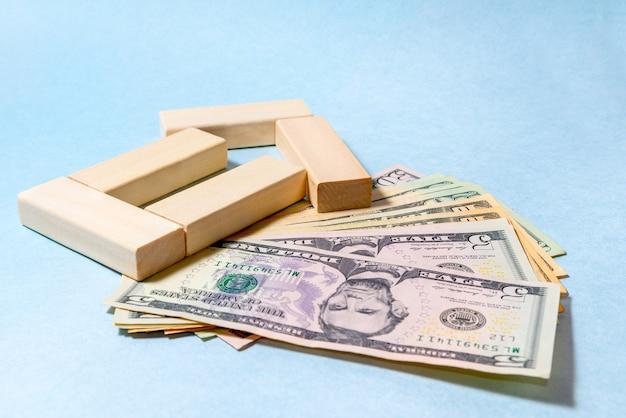 Close-up van bankbiljetten. geldbesparende ideeën voor huizen, financieel ideeënconcept