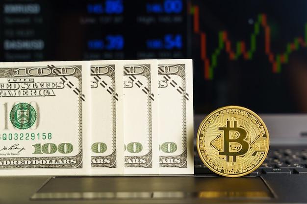 Close-up van bitcoin-valutamunten met handelsbeursmarktprijsgrafiek
