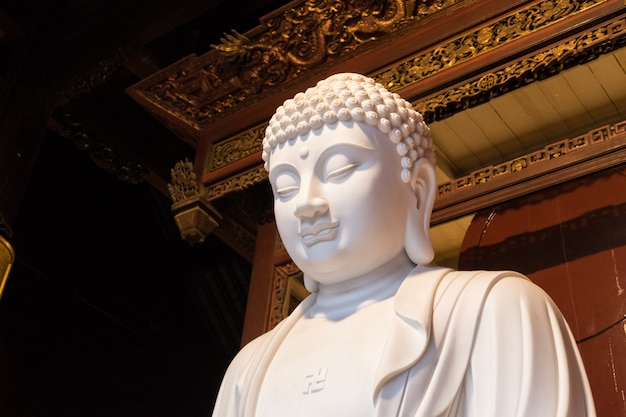Close-up van boeddhistisch godsstandbeeld in de oude longhuatempel. china, shanghai.