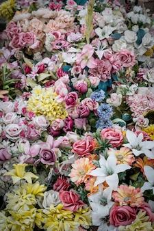 Close-up van boeketten bloemen