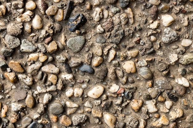 Close-up van cement met stenen