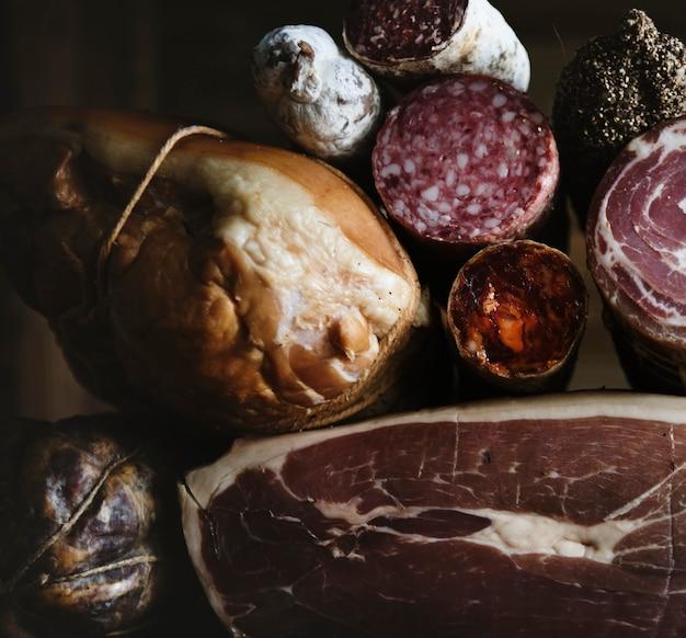 Close-up van charcuterie vleesproducten