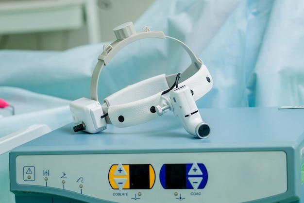 Close-up van chirurgen medische koplamp.